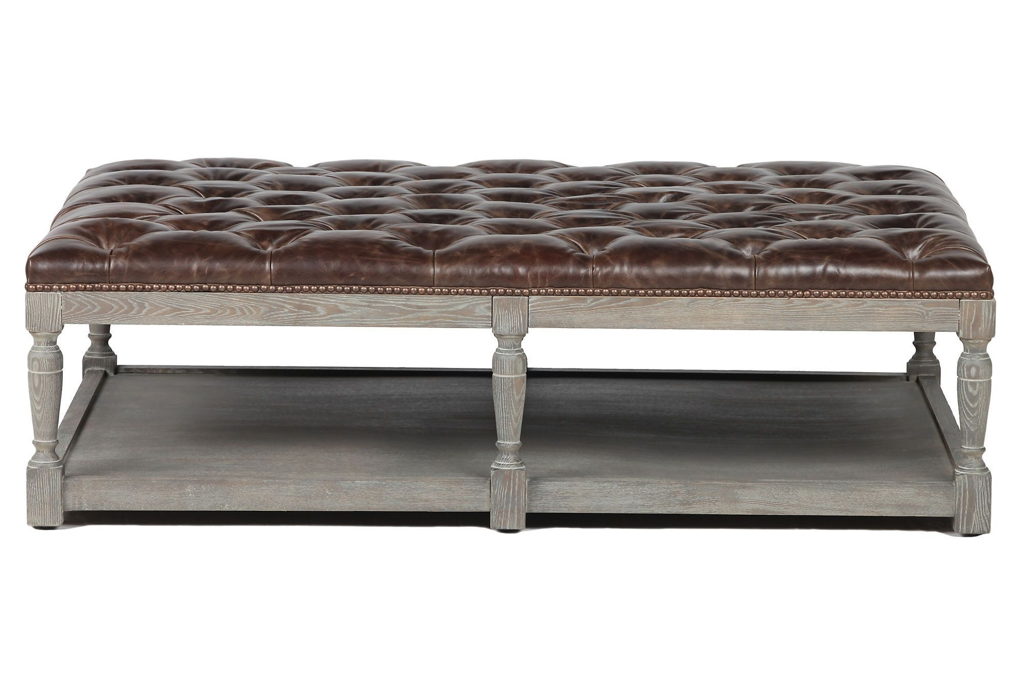 Merveilleux Leather Tufted Ottoman Coffee Table