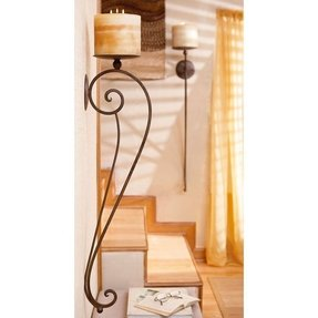 Metal candle wall sconce