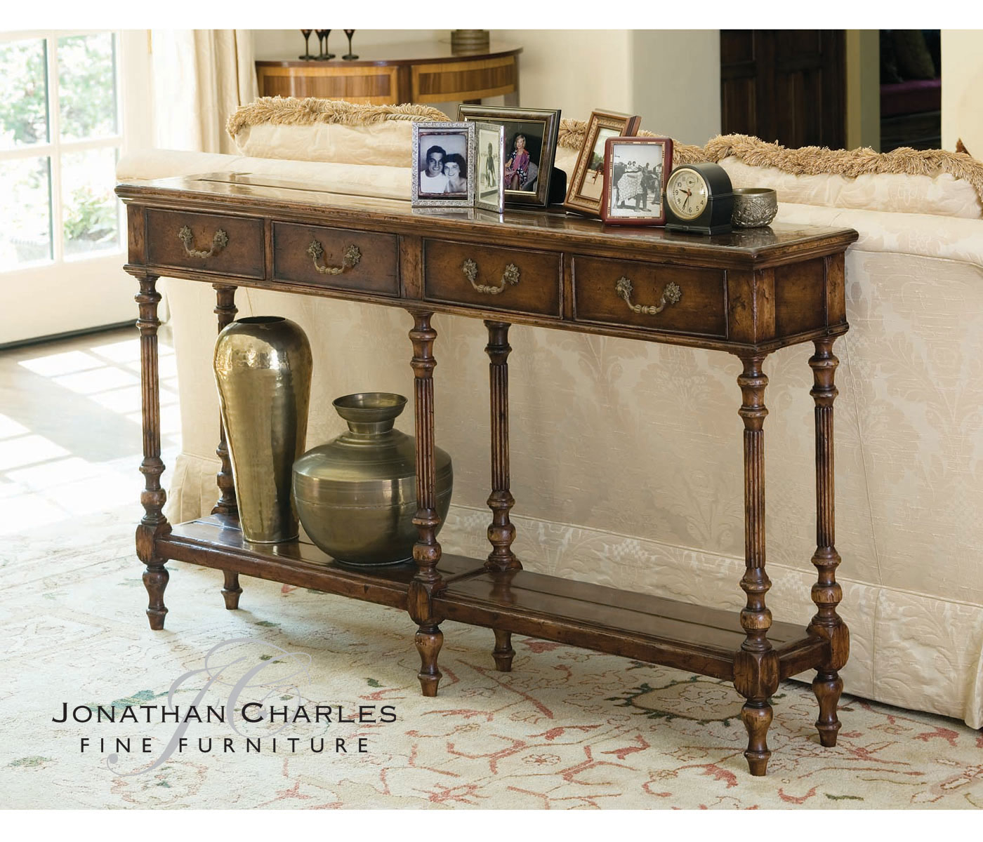 Narrow Console Table In Antique Walnut Finish With A Planked