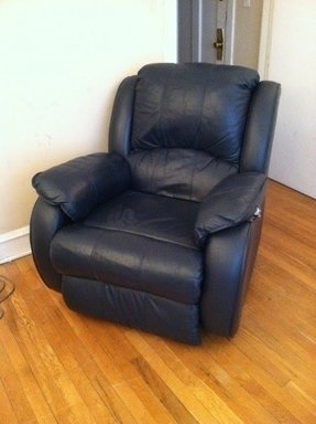Navy leather recliner 2
