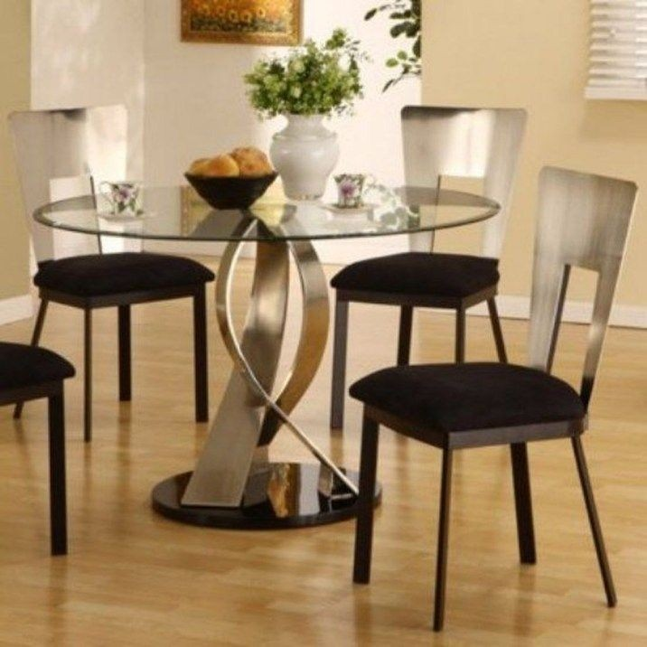 Attractive Round Glass Kitchen Table Sets 2 Idea