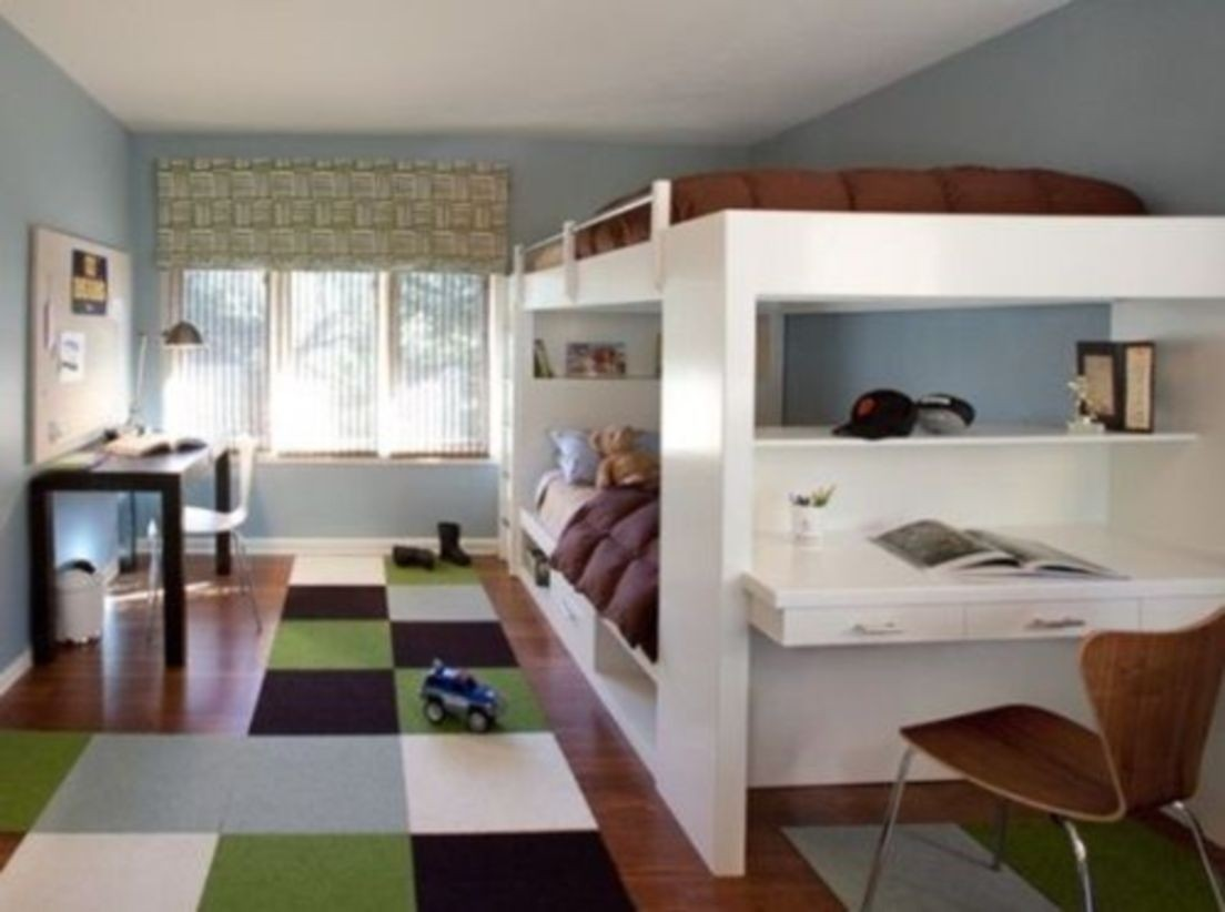 Single Bunk Bed With Desk