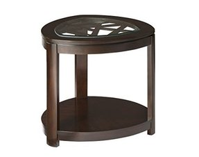 Standard Furniture Crackle Triangle Shaped End Table In Dark Merlot