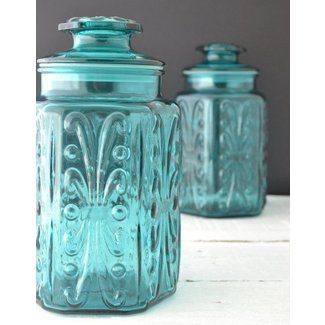 Teal glass canisters vintage kitchen