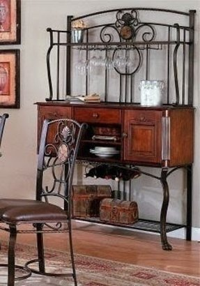 Traditional Metal Baker's Rack Sideboard w/ Storage
