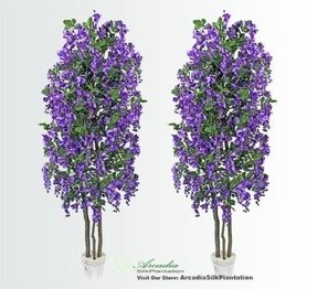 TWO 6.5' Wisteria Real Wood Trunks Artificial Trees each with approx. 105 flower clusters