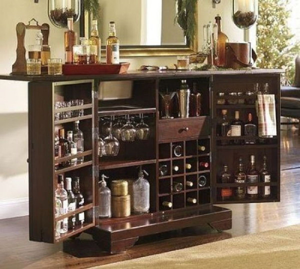 Captivating Vintage Dry Bar Cabinet