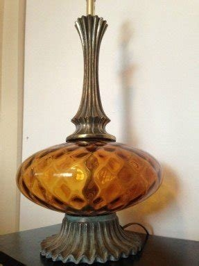 Amber glass table lamp foter vintage mid century amber glass table lamp hollywood regency mozeypictures Choice Image