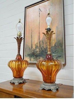 Amber Glass Table Lamp - Foter
