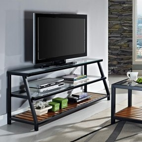 Walker edison 60 in glass and metal tv stand with