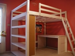 White bunk bed with desk