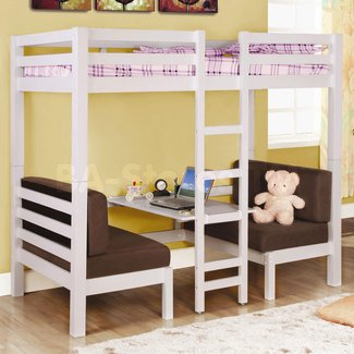 White twin loft bunk conversion bed with play area bedroom
