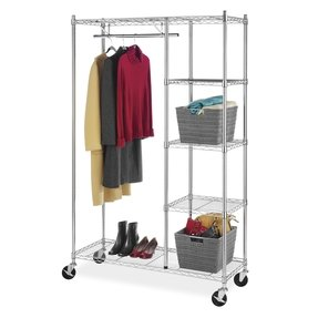 Whitmor 6058-4320-BB Commercial Grade Collection Supreme Rolling Garment Rack with Shelves
