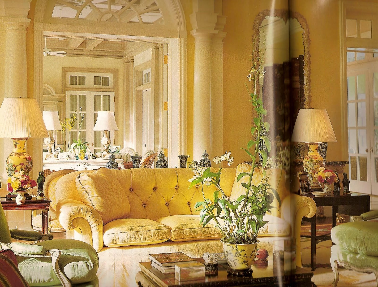 Yellow Tufted Sofa 1