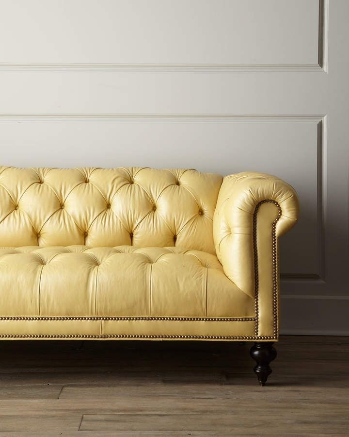 yellow leather couches foter rh foter com yellow leather tufted sofa Tufted Club Sofa