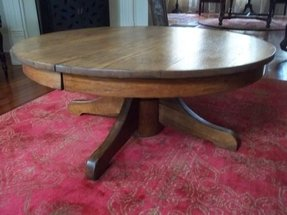 Antique tiger oak round pedestal coffee table 42 diameter refinished