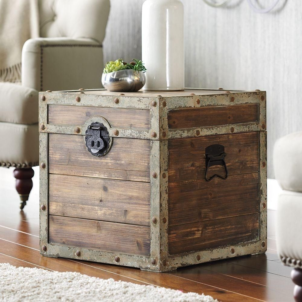 Antique vintage storage trunk rustic brown box side end table & Wood Storage Trunk Coffee Table - Foter