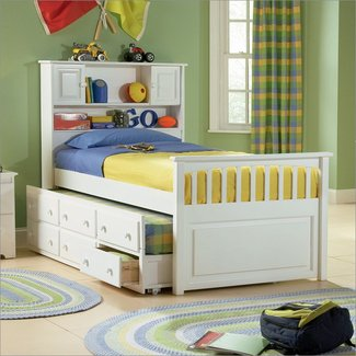 Atlantic Furniture Captain's Bookcase Bed with 3 Drawer Trundle in White