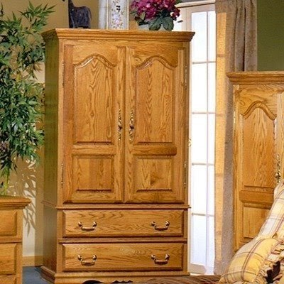 Bebe Furniture Country Heirloom Collection TV Armoire Wardrobe With Shelf,  Small , Medium Oak