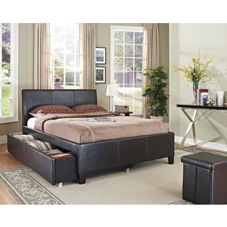 Black leather platform bed