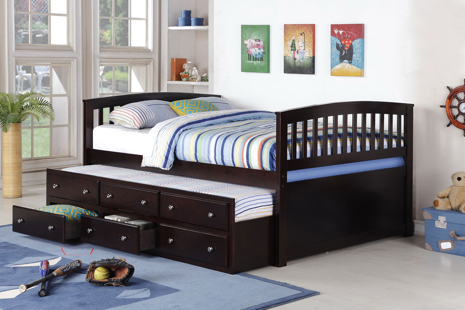 Brand New 13pc Slats Full Size Captain Bed In Espresso Finish With Trundle  U0026 Storage 80