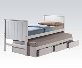 Bungalow white finish twin size captain bed with trundle 1