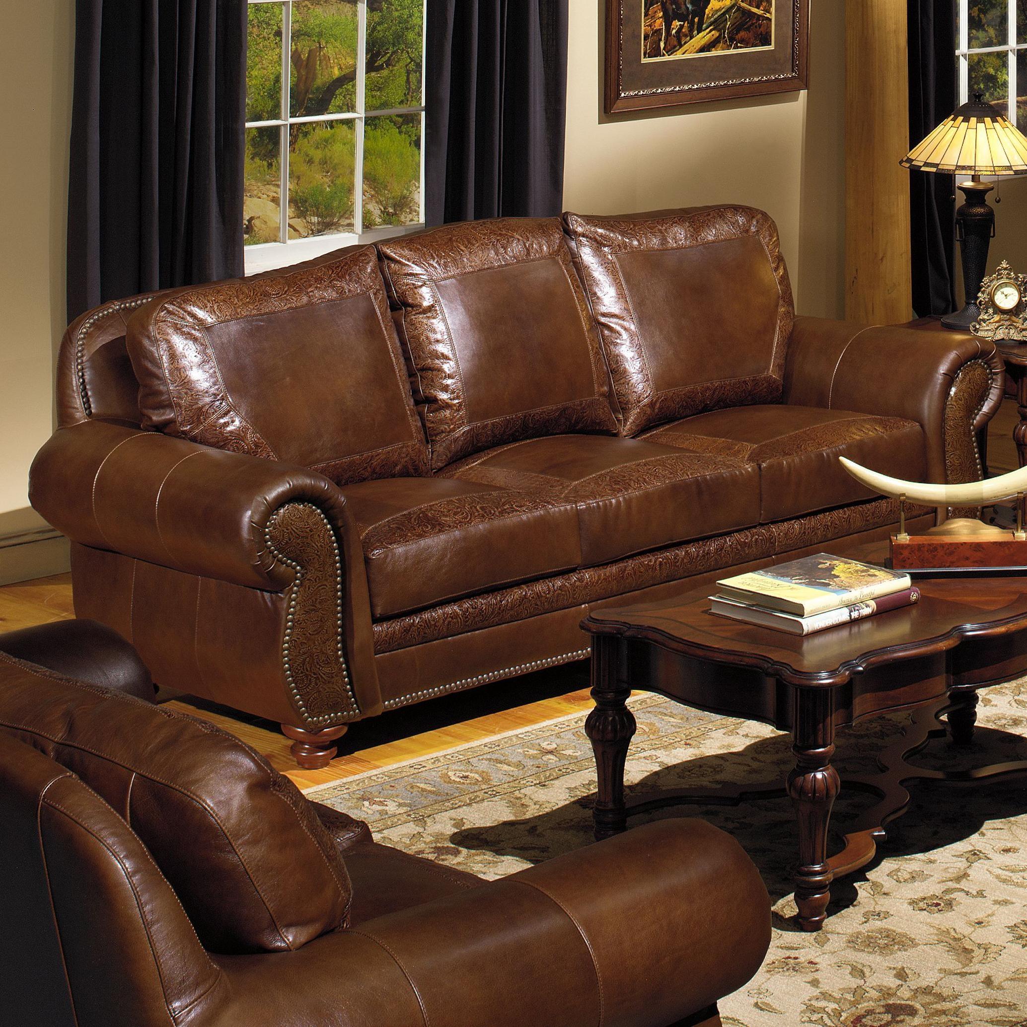 Exceptionnel Burgundy Leather Sofa Nailhead Trim
