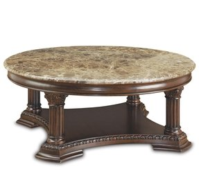 Cly Wooden Round Coffee Table Design With Gorgeous Wood Carving