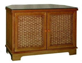 Cottage wicker corner tv stand tropical furniture