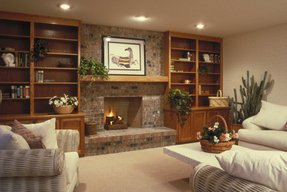 Electric fireplace with built in shelves