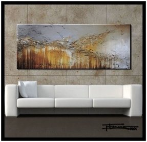 "Extra Large Modern Abstract Canvas Wall Art. Limited Edition, Hand Embellished Giclee on Canvas, HUGE! 60 x 24 x 1.5 Ready to Hang! ""ENGAGING GRACE"""