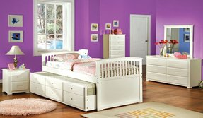 Furniture of america annetta white mission style captain bed with