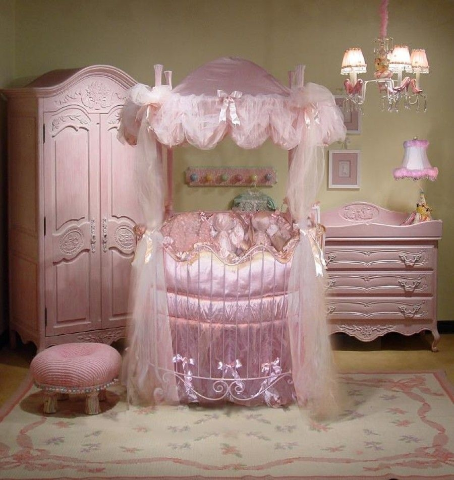 Glamorous princess nursery decorating ideas with white iron round crib & Cribs With Storage - Foter