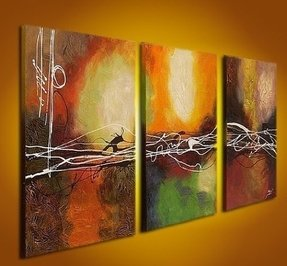 Hand-painted Oil 'Abstract' Large Linen Canvas Art Wood Framed (Set of 3)- Oversize: 72 In.w X 36in.h