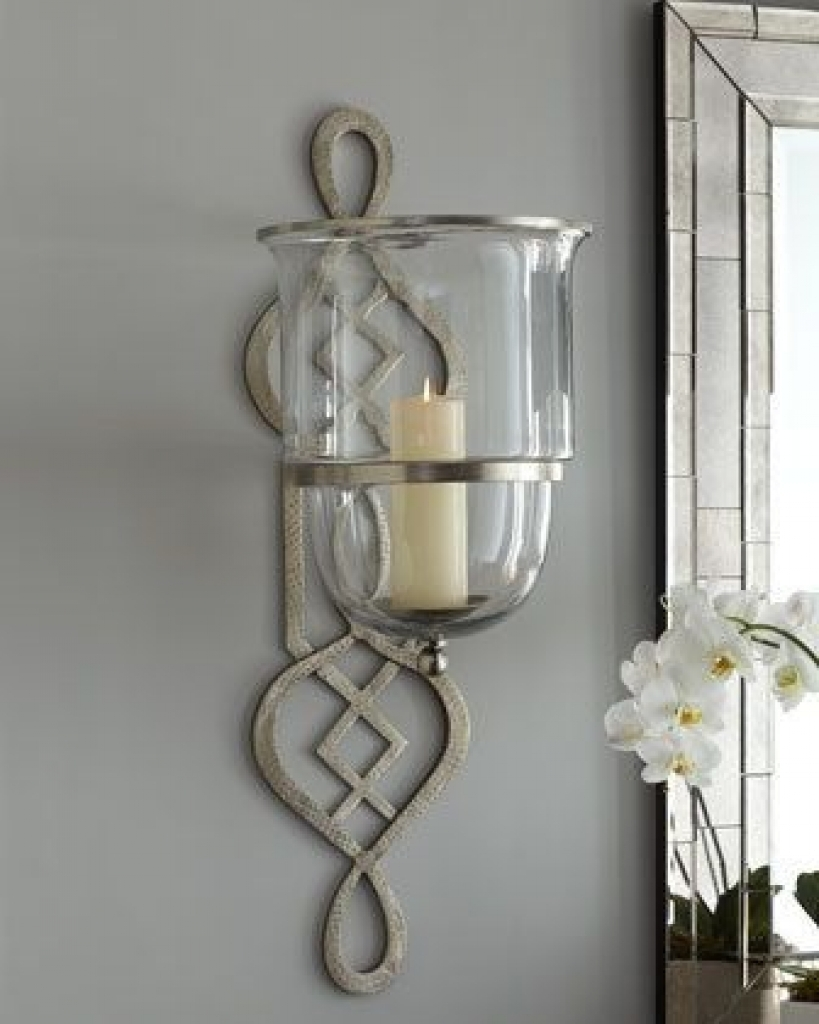 Black Iron Scrolling Candle Holder with Fluted Glass Cup NEW WALL SCONCE