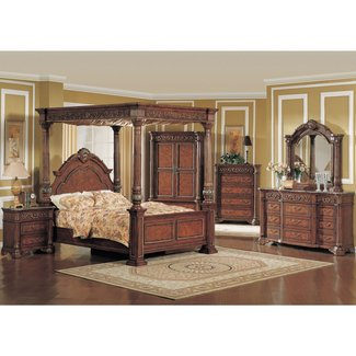 King poster canopy bed marble bedroom furniture set 5pc 1