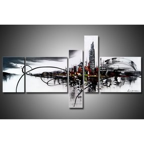 Large Hand Painted Clouded City on the River Gallery-wrapped Oil Canvas Wall Art 5pcs/set