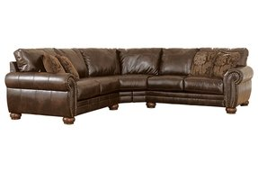 Leather nailhead sectional