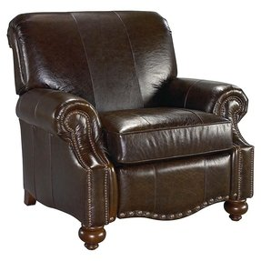 Leather recliner with nailhead trim 1