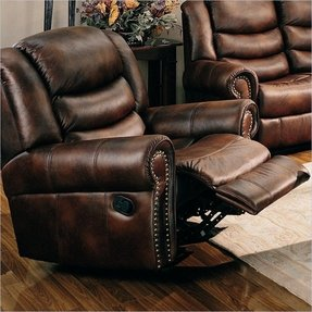 Leather Recliner With Nailhead Trim 4