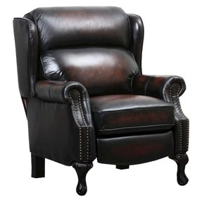 Leather recliner with nailhead trim 9