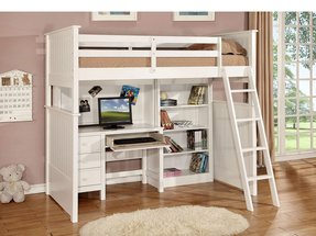 Loft Bed - Desk + Hutch, Bookshelf - Matching Chair Included