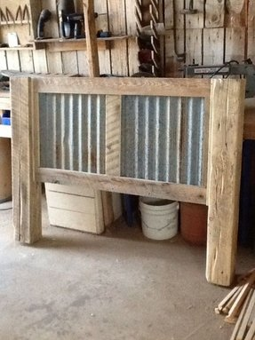 Metal and wood headboard