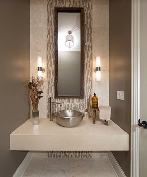Modern contemporary powder room with travertine tile contemporary powder room