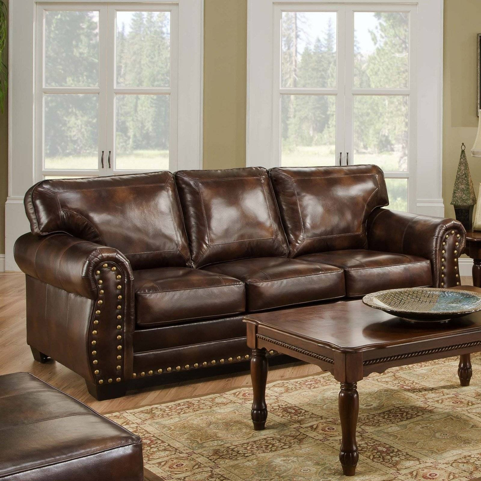 High Quality Nailhead Leather Couch