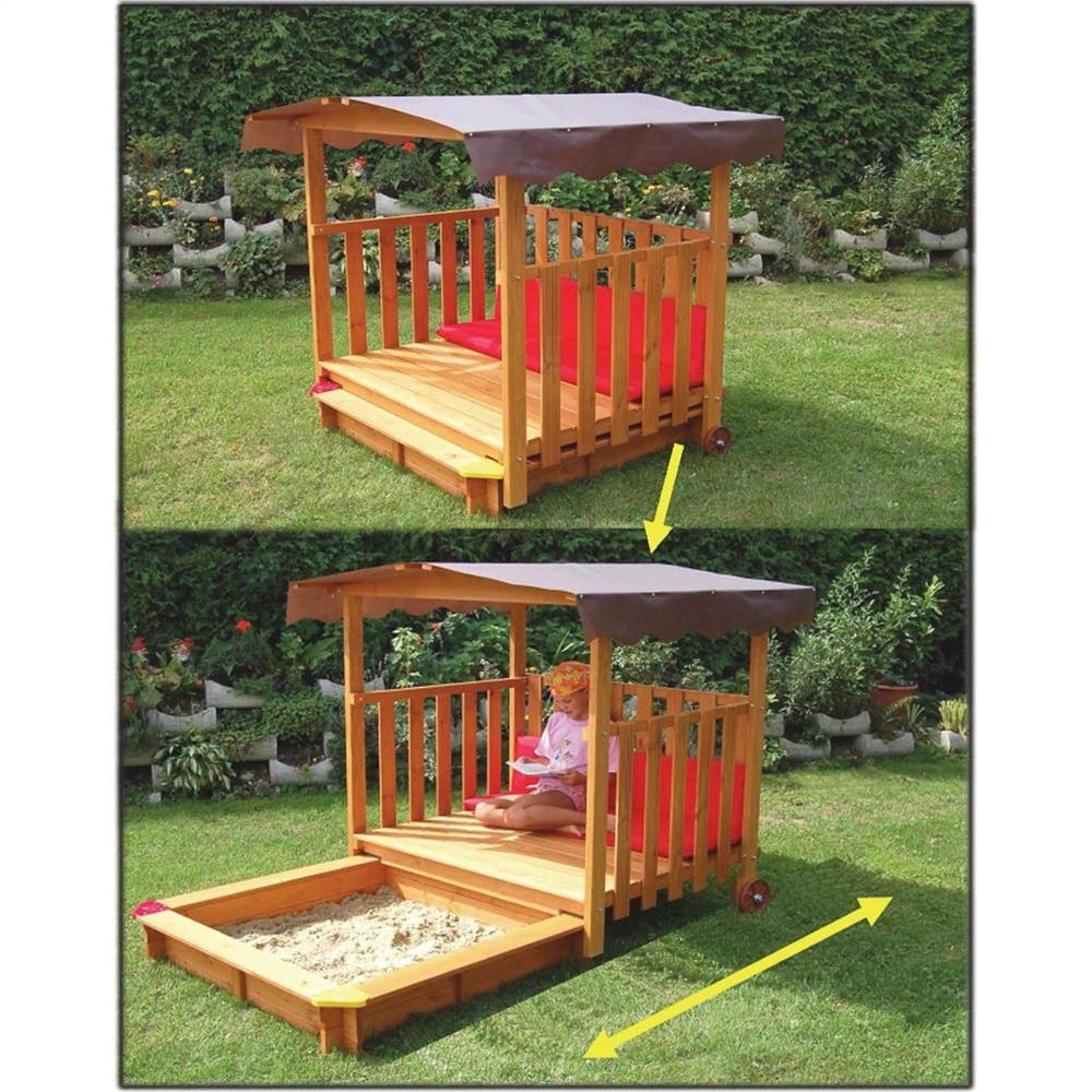 New Big Wood Sandbox Play Deck Combo 54 Playground Sand Box With Canopy