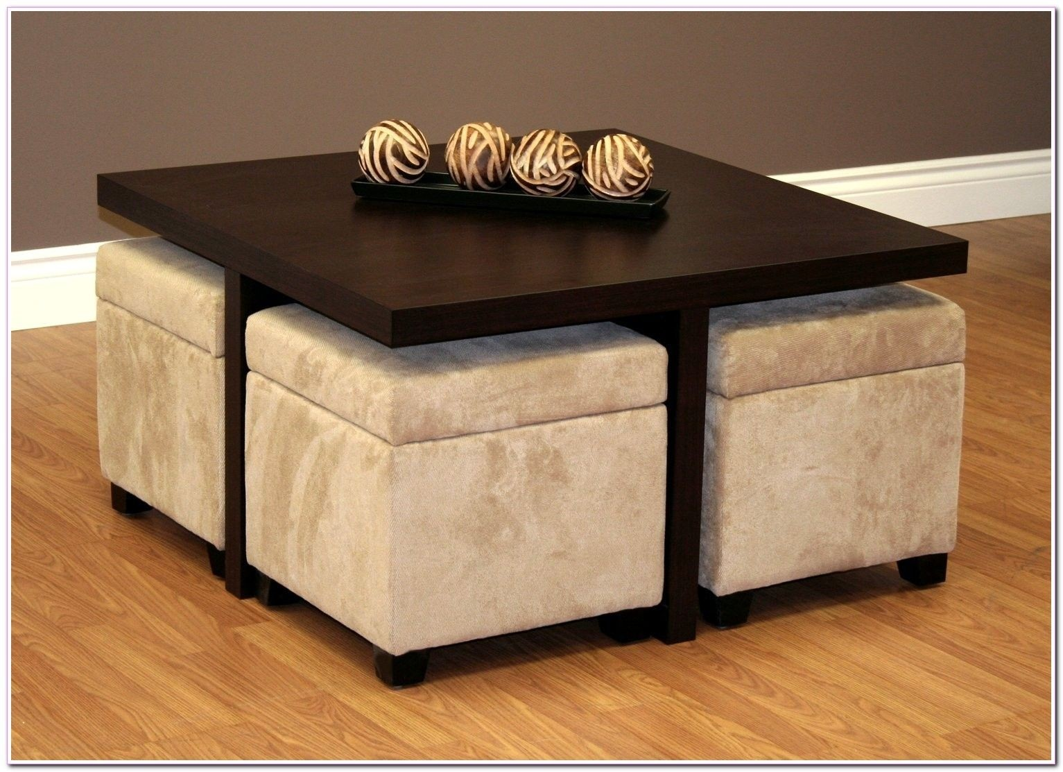 New square coffee table with 4 storage ottomans chocolate brown & Coffee Table With 4 Storage Ottomans - Foter