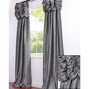 Platinum embroidered ruched faux silk taffeta header curtain panel 1