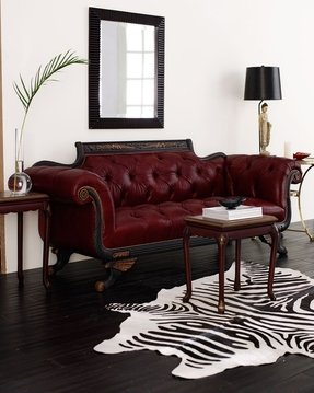 Red faux leather sofa 1