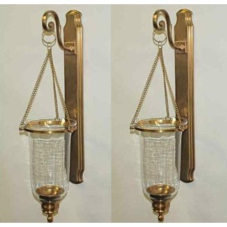 Set 2 antique brass clear glass hanging hurricane candle sconce